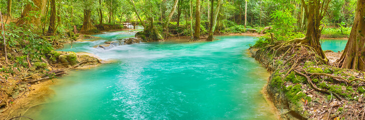 Tat Sae Waterfalls. Beautiful panorama landscape. Laos.