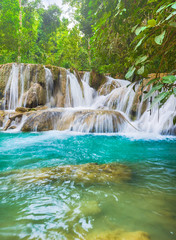 Tat Sae Waterfalls. Beautiful landscape. Laos.