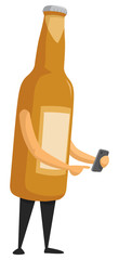 Beer bottle using a smartphone