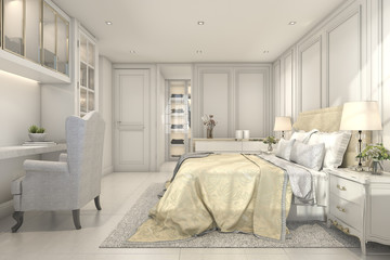 3d rendering beautiful vintage and classic kid bedroom