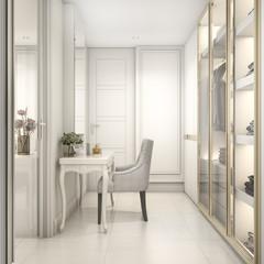 3d rendering cozy classic scandinavian child walk in closet