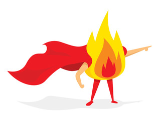 Fire super hero burning with cape
