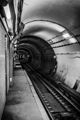 Subway train tracks and tunnel