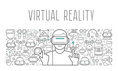 Virtual reality headset man poster, in on vr background. Vector