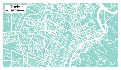 Turin Italy City Map in Retro Style. Outline Map.
