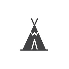 Wigwam icon vector, filled flat sign, solid pictogram isolated on white. Tourist tent shelter symbol, logo illustration.
