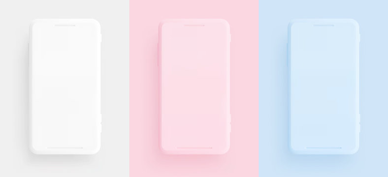 Mobile phone, template modern gadget. Smartphone mackup isolated realistic, white pink and blue