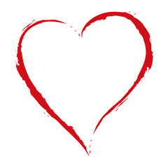 vector red heart drawing with the brush on white background