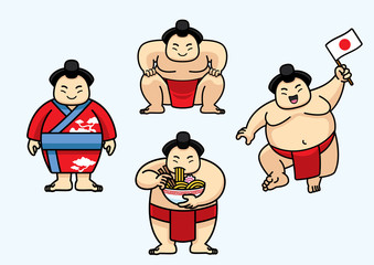 set of cute sumo japan character