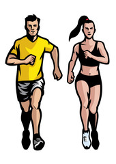 set of man and women running