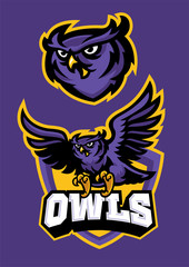 Canvas Prints Owls cartoon sport mascot style of owl in set