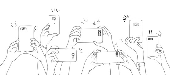 Vector of hands taking photo with smartphone
