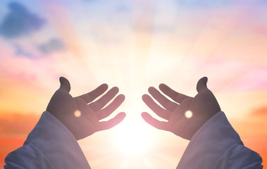 Hands of Jesus Christ silhouette