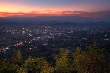 Beautiful sunset at viewpoint of Phu Bor Bid in sunset, Loei province,Thailand. The famous sunset view point in near Loei city