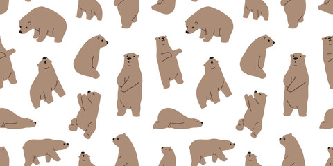 Bear seamless polar bear vector pattern isolated icon wallpaper background
