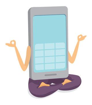 Mobile phone practicing yoga or meditation