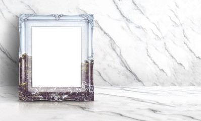 Blank double exposure nature view on vintage frame at white clean marble wall and floor background,Minimal simple style interior backdrop.mock up space for adding your text or design in banner.