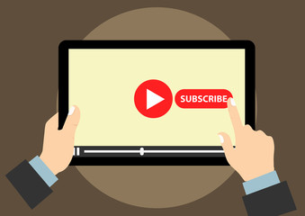 tap to subscribe video channel account illustration