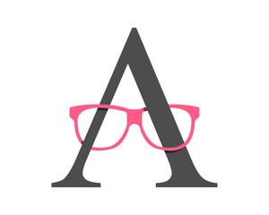 glasses alphabet optic image vector icon logo