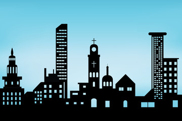 .city scape black architectural building icon. design silhouette flat style on blue background Illustration vector