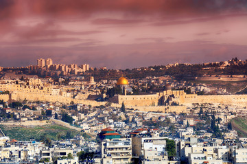 Panorama of Jerusalem Old City and Temple Mount, Israel.