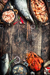Fototapete - Different seafood on table.