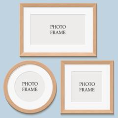 blank photo frame on the wall. design for modern interior vector illustration
