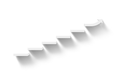 rising white stairs on white background with shadow, business growth