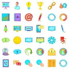 Management icons set, cartoon style