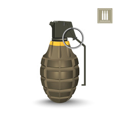 Detailed realistic image of hand grenade. Army explosive. 3d weapon icon. Military isolated object. Vector illustration