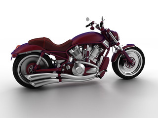 3d render isolate on white background motorcycle red.