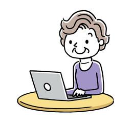 シニア女性:インターネット、パソコン