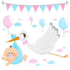 Stork delivering a new baby. Vector collection