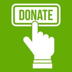 Hand presses button to donate icon green