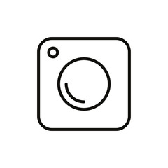 Trendy digital camera web icon - simple flat design isolated on white background, vector