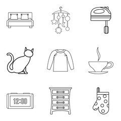 Abode icons set, outline style