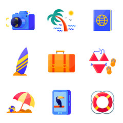 Travel and vacation, summer holidays icons set flat style