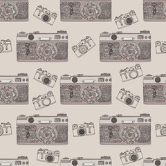 Vintage retro photo camera seamless pattern. Mandala style fabric design. Boho style vector illustration.