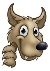 Wolf Cartoon Character Mascot Peeking Around Sign