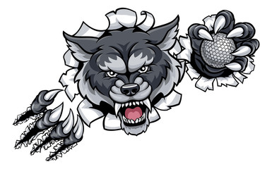 Wolf Golf Mascot Breaking Background