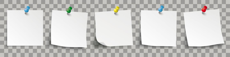 5 weisse Klebezettel mit bunten Pins und durchsichtigen Schattierungen