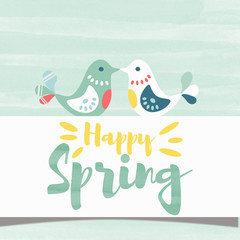 Happy spring poster birds kissing