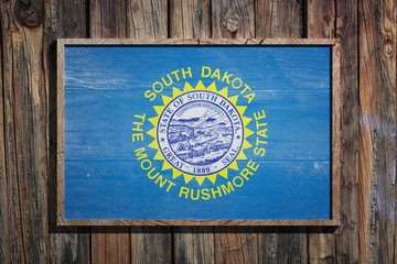 Wooden South Dakota flag