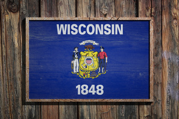 Wooden Wisconsin flag