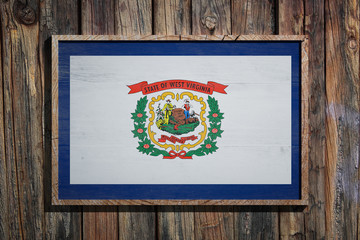 Wooden West Virginia flag