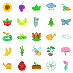 Flowering icons set, cartoon style