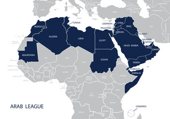 Map of Arab League.