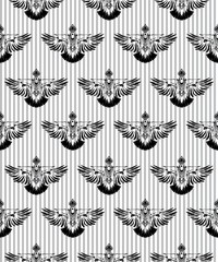 Seamless pattern. Hand drawn black stylized pigeon painted by ink. Dove bird. Vector background.