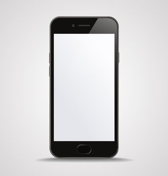 High Detailed Realistic Smartphone with Blank Screen isolated on White Background. Front View For Print, Web, Application. Device Mockup Separate Groups and Layers. Easily Editable Vector