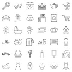 Domesticity icons set, outline style